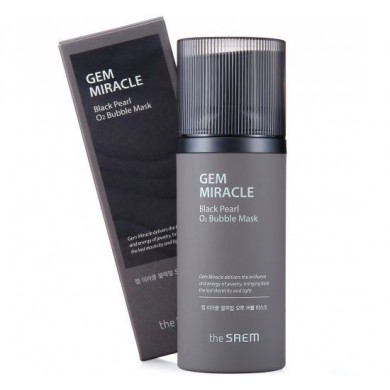 The Saem Gem Miracle Black Pearl O2 Bubble Кислородная тканевая маска с экстрактом черного жемчуга