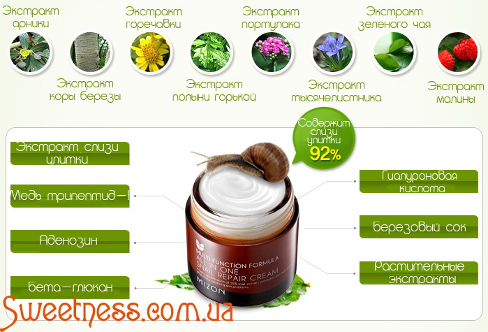 Улиточный крем 90% Mizon All in One Snail Repair Cream фото 4 |Sweetness