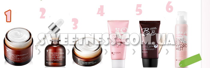 Улиточный крем 90% Mizon All in One Snail Repair Cream фото 6 |Sweetness