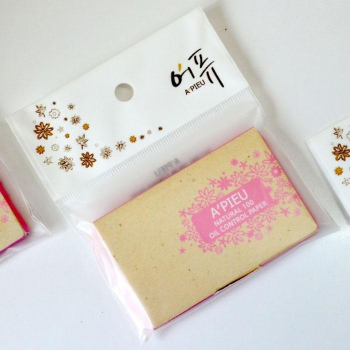 Матирующие салфетки A'PIEU Natural 100 Oil Control Paper фото 1 | Sweetness