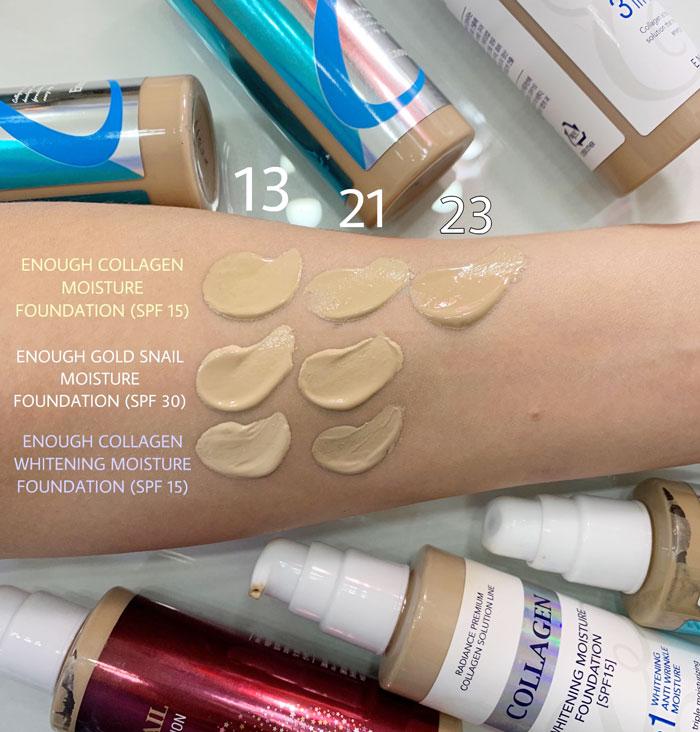 Тональная основа с коллагеном осветляющая Enough Collagen 3in1 Foundation фото 3   Корейская косметика Sweetness