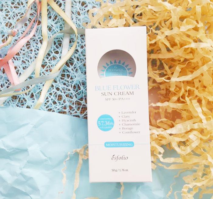 Esfolio Blue Flower Sun Cream SPF 50+/PA+++ Солнцезащитный крем с экстрактами синих трав фото 2 | Sweetness