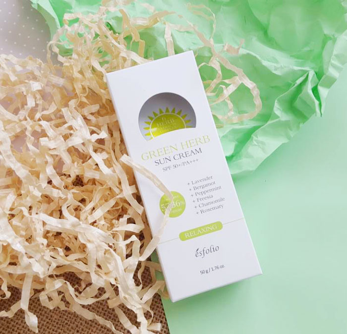 Esfolio Green Herb Sun Cream SPF 50+/PA+++ Солнцезащитный крем с зелеными травами фото 2 | Sweetness