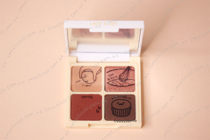 Holika Holika Gudetama Eye Shadow Kit Палетка теней для век 01 Red Velvet – красный вельвет фото 3 | Корейская косметика Sweetness