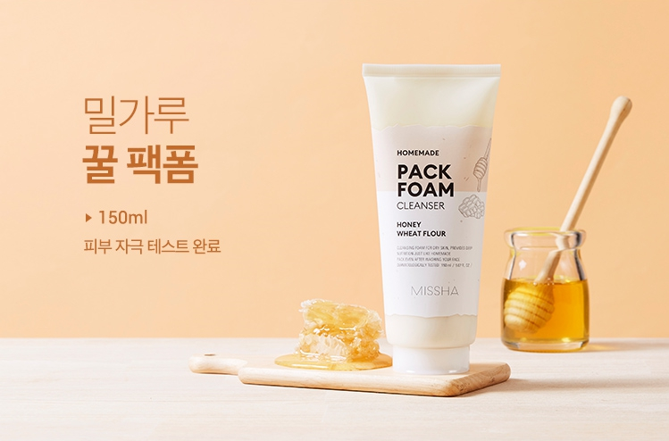 Питательная пенка для сухой кожи - Мёд и пшеничная мука Missha Homemade Pack Foam Cleanser (Wheat Flour Honey Pack Foam) / Sweetness
