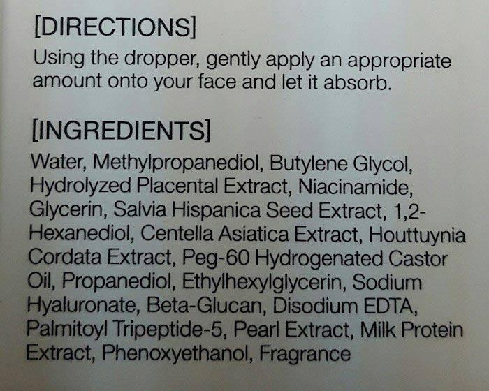Полный состав плацентарной сыворотки Mizon Bio Placenta Ampoule | Sweetness