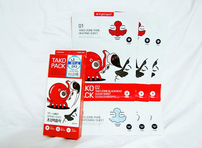 Маска 3-х шаговая для очищения пор носа от черных точек Nightingale Tako Pack Nose фото 1 | Sweetness