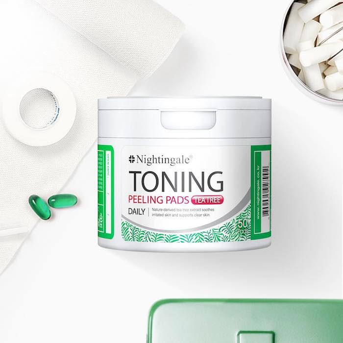 Спонжи для мягкого кислотного (0,5%) пилинга кожи с чайным деревом nightingale-toning-peeling-pads-tea-tree-pouch фото 1 | Sweetness