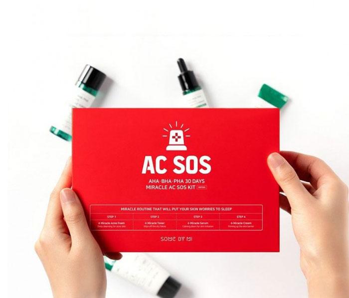 Набор мини-средств с кислотами для проблемной кожи Some By Mi Aha Bha Pha 30 Days Miracle Ac Sos Kit фото 1   Корейская косметика Sweetness